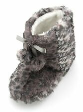 Slumberzzz Girls Leopard Faux Fur Plush Bootie Slippers With Pom Poms
