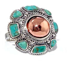 NIB Studio Barse Kingman Turquoise Copper and .925 Sterling Silver Floral Ring