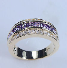Size 9-12 Deluxe 10KT Yellow Gold Filled Mens Amethyst CZ Band Ring Jewelry