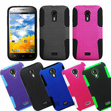 For BLU Hybrid Mesh Perforated Hard Silicone Case Phone Rubberized Covers