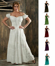RENAISSANCE COSTUME MEDIEVAL SCA PEASANT COTTON SUN DRESS BOHO PIRATE WENCH GOWN
