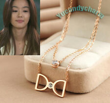 Korean TV My Love From the Star Jun Ji-hyun Rose Gold 2 Layers Necklace CZ SS