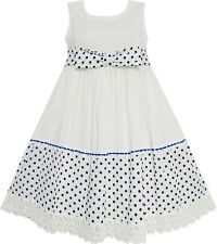 Sunny Fashion Girls Dress Dot Bow Tie White School Kids Clothing Size 4-9