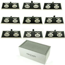 Mens Oval Silver Wedding Cufflinks & Gift Box Boxed Usher Groom Best Man Kit Set