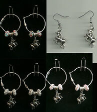 Hoop & Fish Hook Earrings with Unicorn Charm & Crystal Beads