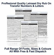 Letraset Rub On Transfer Numbers Letters A5 Sheets mm All Fonts Colours & Sizes