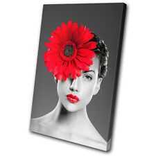 Floral Woman Flower Red SINGLE CANVAS WALL ART Picture Print VA