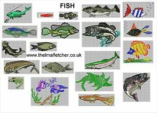 CD machine embroidery design files 20 FISHES in 13 formats pes jef hus xxx etc
