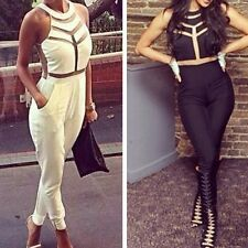 New Womens Sleeveless Gauze Outfits Bodycon Jumpsuit & Romper Trousers Clubwear