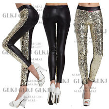 Sexy Lady's Shiny Skinny Low Waist Stretch Tights Pants Leather Leggings sxy