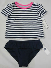 BABY GAP Girls Blue Pink Stripe Rashguard Bathing Swimsuit  2  3  4  5