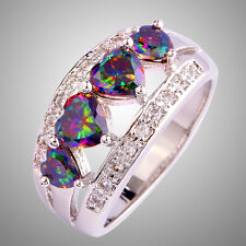 Noble Size L N P R T V Y Rainbow & White Sapphire Gemstones Silver Ring Jewelry