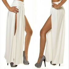 SEXY LADY TRENDS BOHO HIGH WAISTED DOUBLE SLITS OPEN RAYON KNIT LONG MAXI SKIRT