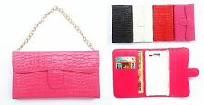 Deluxe PU Leather HandBag Holder Chain Wallet Card Flip Cover Case FOR SONY