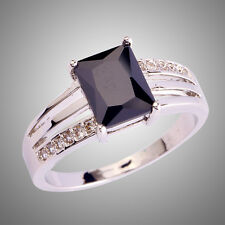 Stunning Fashion Jewelry Rings Black Spinel Gems Silver Ring  Size L N P R T V Y