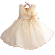 New White/Ivory Flower Girl Dress Pageant Wedding Bridesmaid Dance Party 1T 2-5T