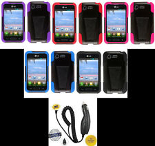 LG Optimus Zone 2 VS415PP / Fuel L34C Phone HYBRID T-STAND Case + CAR CHARGER