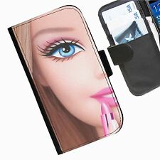 Barbie Leather wallet mobile phone Skin case Personalised iPhone