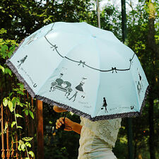 New Anti UV Windproof Clear/Rain Korean Lacework Princess Folding Umbrella T171