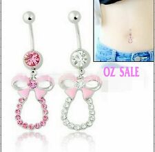 Women Bow 316L Surgical Stainless Steel Belly Navel Bar Body Piercing Jewellery