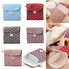 Girls Gift Polka Dot Sanitary Napkin Bags Cotton Pouch Purse Pad Holder Handbag