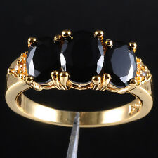 Size 6-9 Three-Stone Black Sapphire 10KT Yellow Gold Filled Ladys Ring Jewelry