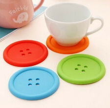 1x Coffee Placemat Button Coaster Cup Mug Glass Beverage Silicone Holder Pad Mat