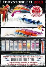 "FISHING LURES EDDYSTONE EEL 2013 -NEW WEIGHTED SANDEEL LURES 4"" / 6""  / 10"""