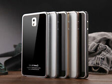 Tempered Gorilla Glass + Metal Bumper Cover Case For Samsung Galaxy Note 3 N9000