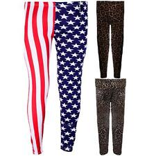 Girls USA Flag Union Jack Stars Leopard Print Children's Trousers Leggings