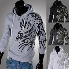 Character Dragon stamp Fashion Casual Slim fit Hooded Sweater men's clothing