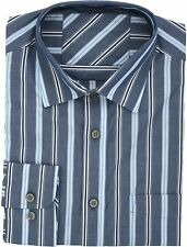 Ex Store Long Sleeve Pure Cotton Stripe Shirt With Breast Pocket Blue