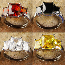 Black & Ruby Spinel & White Topaz & Citrine Gemstone Silver Ring Size 7 8 9 10