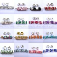 100pcs Quality Crystal Rhinestone Silver Rondelle Spacer Beads Jewelry Findings
