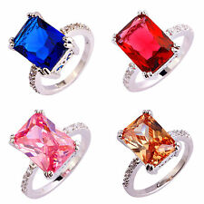 Christmas Gift Ruby Spinel & Pink Topaz Gemstone Silver Ring Size 6 7 8 9 10 11