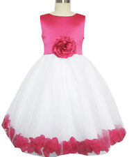 Flower Girl Dress Rose Flower Tulle Wedding Pageant Bridesmaid Size 2-14 Formal