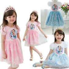 New Kids Girls Princess Frozen Elsa Image Short Sleeve Embroidery Tulle Dress LH