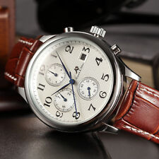 KS Imperial Mens Brown Leather Automatic Mechanical Date Day Luxury Wrist Watch