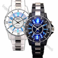 OHSEN White & Black 7 Mode Backlight Night Vision Quartz Run Sport Wrist Watch