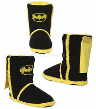 NEW DC Comics Batman BAT LOGO Adult plush Sherpa Boot Slippers With Cape XL NWT