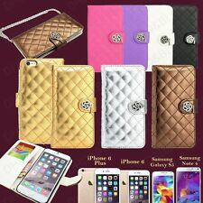 Bling Leather Cover String Strap Flip Wallet Case for Galaxy S5 iPhone 6 / Plus