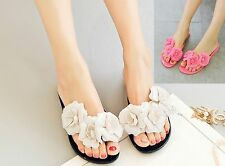 Women Camellias Floral Plastic Beach Jelly Slippers Sandals Flip Flop Shoes