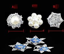 1PC Women Girls Snow Flakes Pearl Crystal Frozen Wedding Cosplay Hair Clip Pin