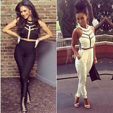 Sxy Women Sleeveless gauze Bodycon Jumpsuit Romper Trouser Clubwear Pants 6 8 10