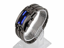 Men Waterproof Blue LED Time-Date Indicate Stainless Steel Wristwatch Watch