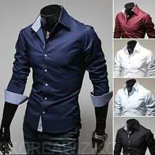 Fashion Mens Luxury Long Sleeve Casual Slim Fit Stylish Dress Shirts 5-Color