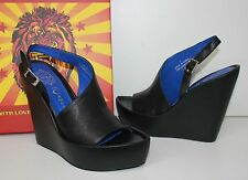 Jeffrey Campbell Mimosa black leather platform wedge shoes NEW