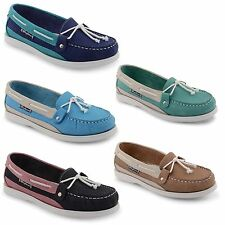 Womens Ladies Leather Office Work Comfort Slip On Loafers Moccasin Deck Shoes
