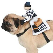 Show Jockey Saddle Costume Harness Collar Halloween Dog Costume Checkered Horse