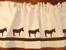 Mule Donkey Horse Window Valance *White with Navy Mules and ribbon Original